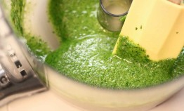 Mint Parsley Pesto by the Farm-to-Table Chef Demo at the Urban Farming Institute.